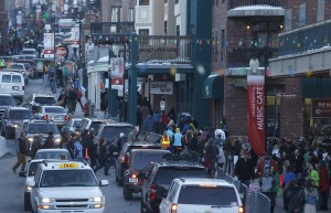 Main Street is bustling with activity during the Sundance Film Festival in Park City, Utah