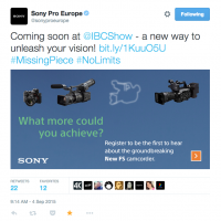 New Sony FS Camcorder IBC 2015
