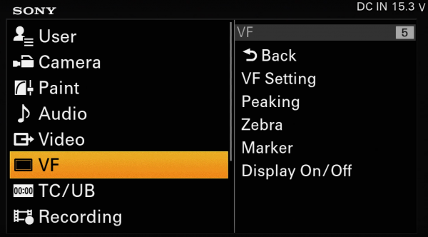 Sony FS7 VF Menu Zebra Waveform Histogram