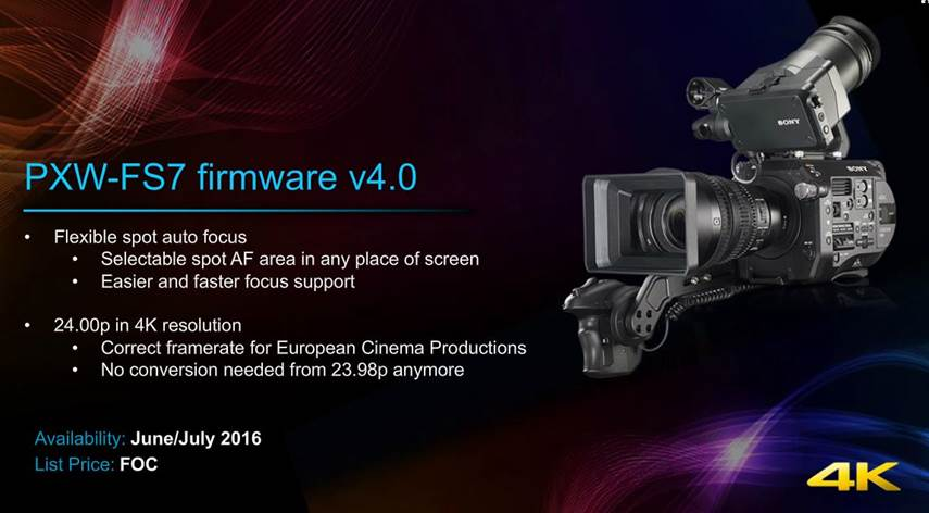 Sony FS7 firmware version 4.0