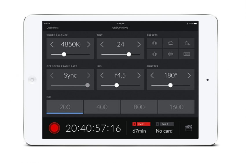 Blackmagic URSA Mini Pro remote control bluetooth