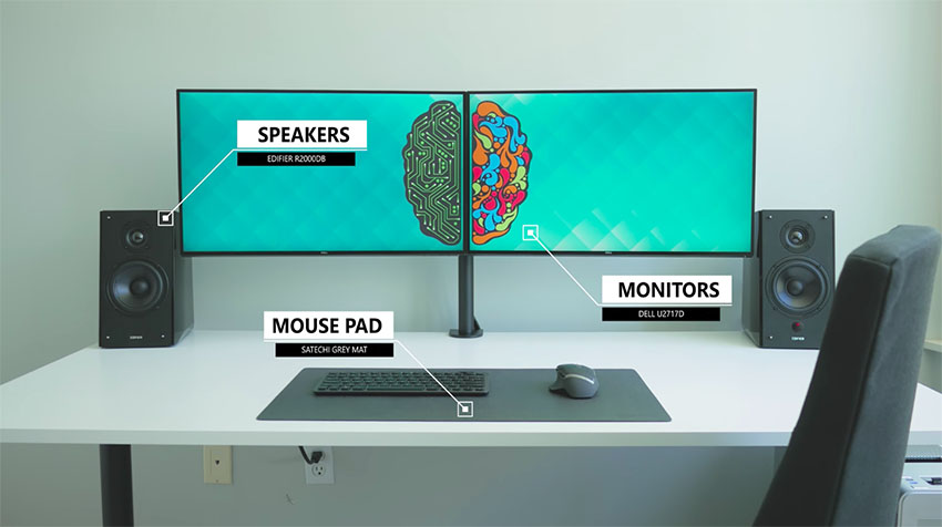 The ultimate dual monitor desk setup for your creative for Best home office monitor setup