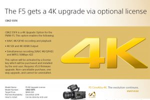 Sony F5 Gets Official 4K (Paid) Upgrade