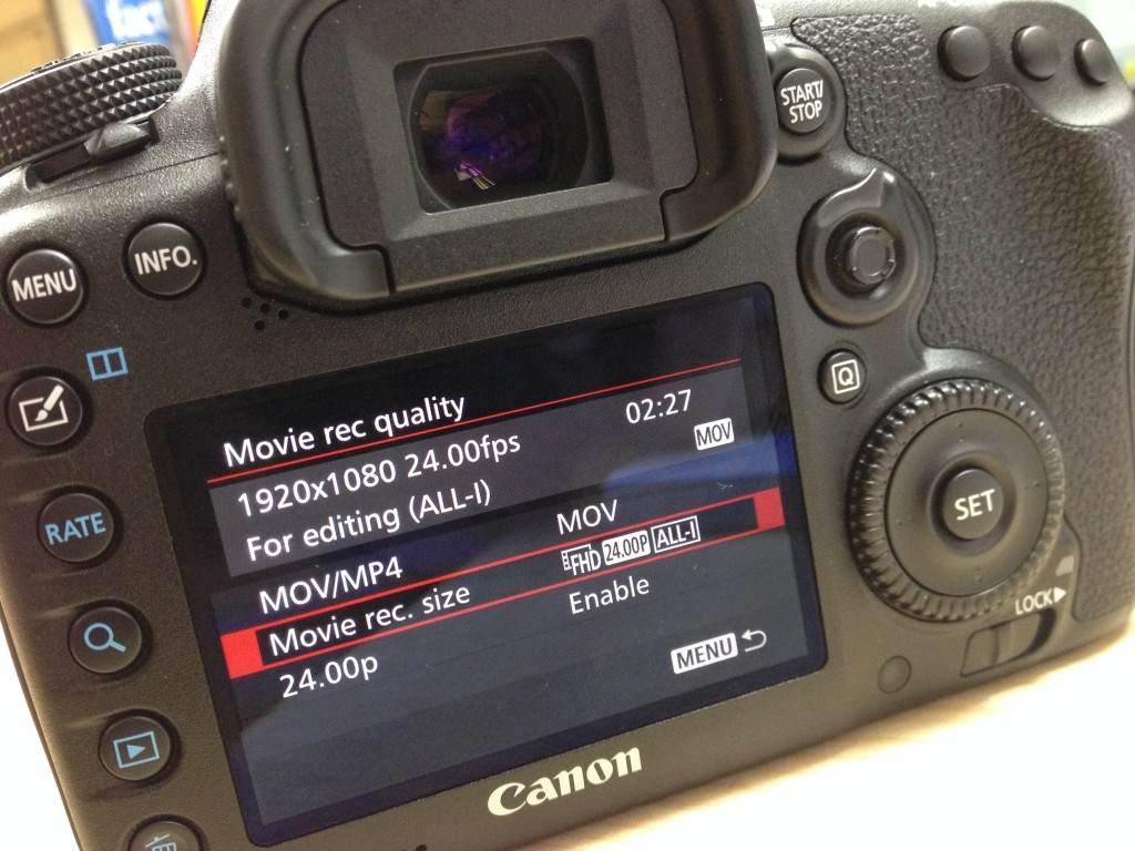 Canon 7D Mark II menu 4k shooters