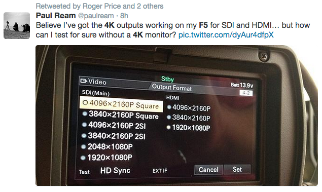 4K SDI Output Sony F5 hack 4K shooters