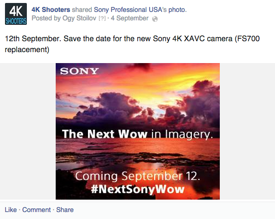 Sony New 4K XAVC camera 4k shooters