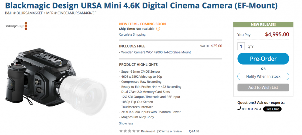 URSA Mini 4.6K EF Mount Camera Blackmagic Design