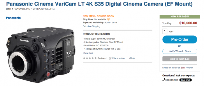 Varicam LT body only