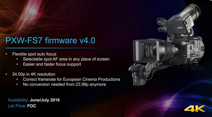 Sony FS7 firmware version 4.0