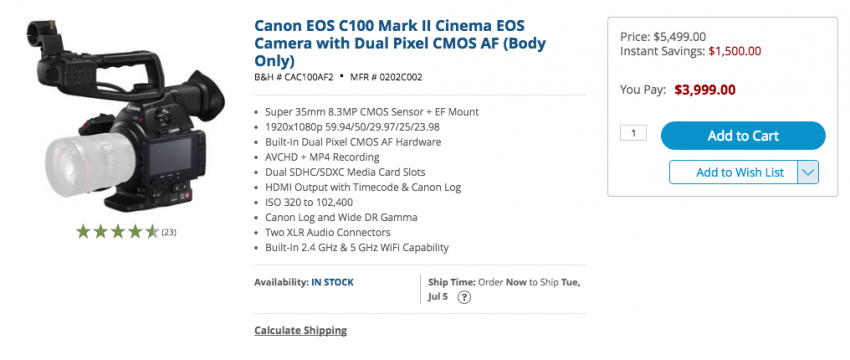 Canon C100 Mark II PRice Drop
