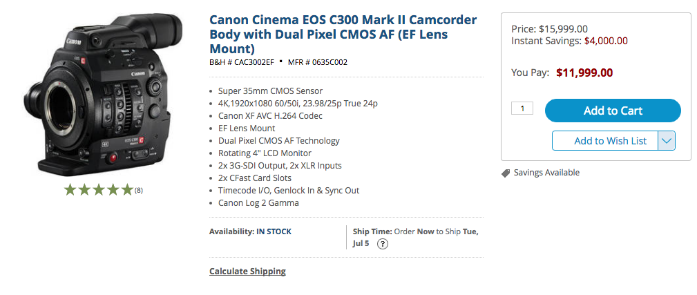 canon C300 mark ii price drop july 1
