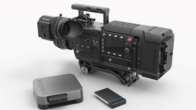 Varicam 35 with Codex V-Raw recorder version 1 and Varicam Recorder module in between the head and Raw recorder.