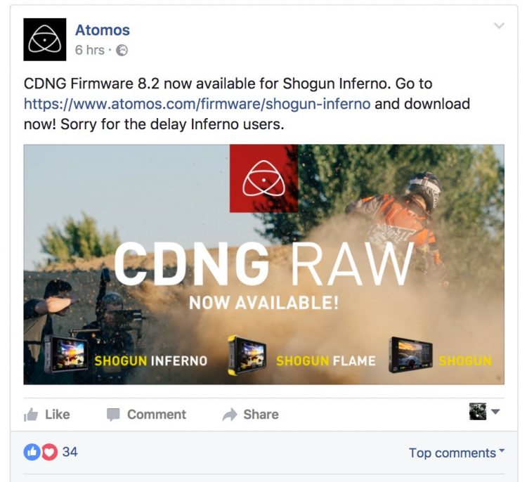 Atomos Shogun Inferno 8.2 CinemaDNG Raw Firmware