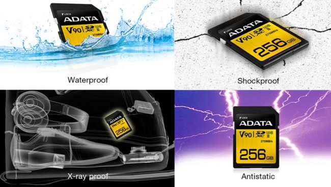 Adata V90 SDXC UHS-II Cards 290 MB per second read 260 MB/W
