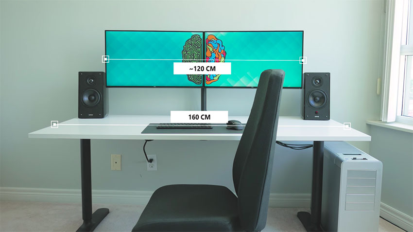 the ultimate dual monitor desk setup for your creative workflow 4k shooters. Black Bedroom Furniture Sets. Home Design Ideas