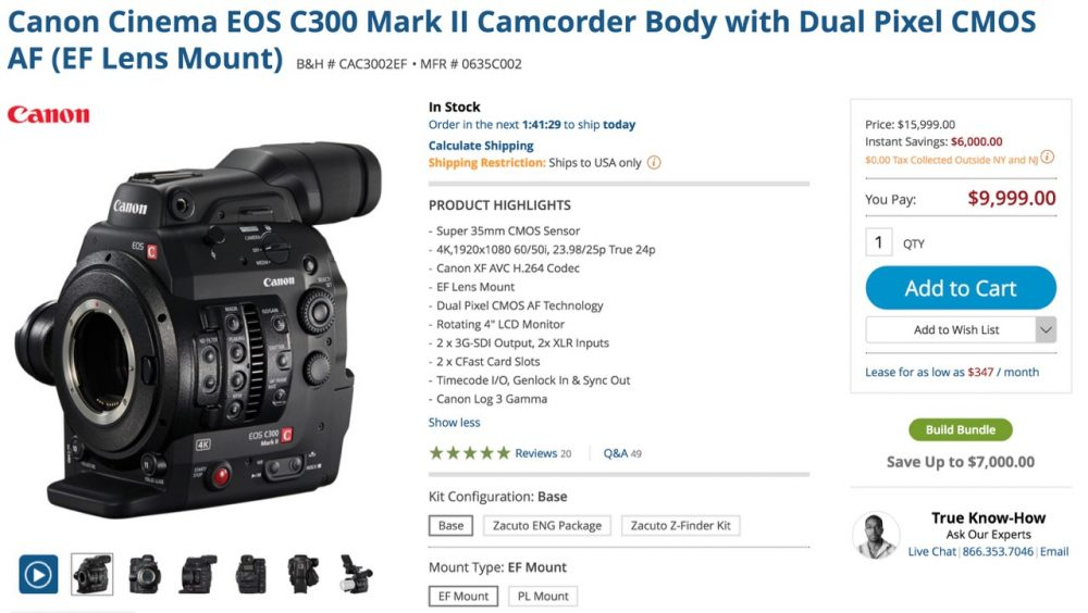 Canon C300 Mark II Price Drop