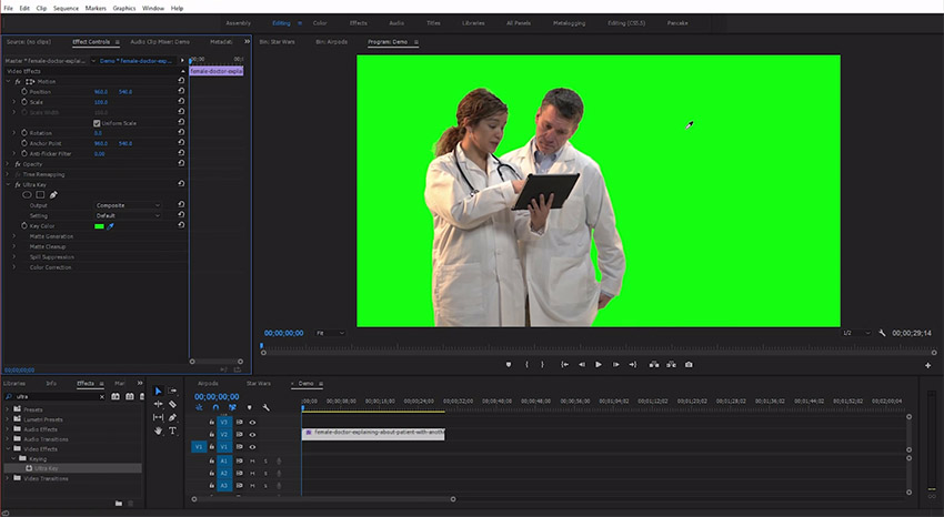 sony movie studio chroma key